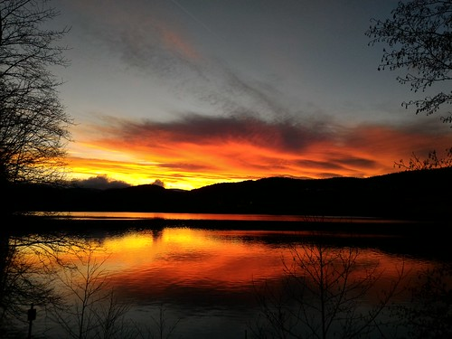 Burning sky just after sunset at Titisee, Black Forest, Baden, Germany