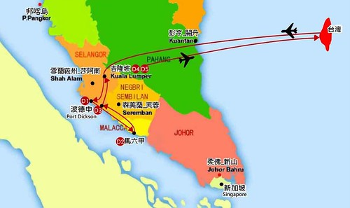 馬來西亞5日行程路線圖1
