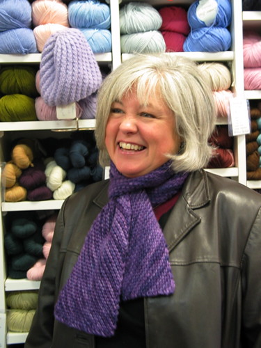Charlotte and her lovely diagonal Malabrigo Scarf | by ImagiKnit