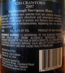 Kim Crawford 2007 Sauvignon Blanc back | by 2 Guys Uncorked