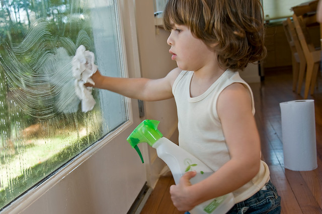 Small child with bottle of cleaner wiping glass window with rag.