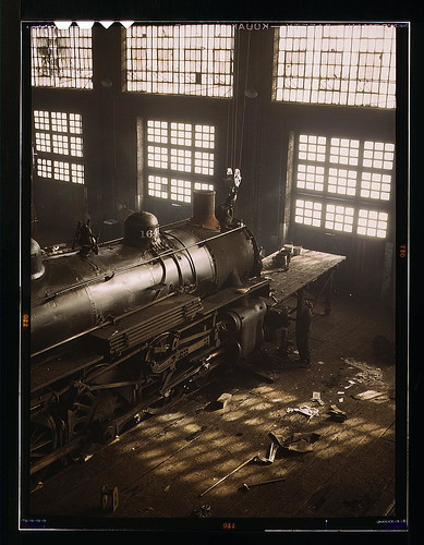 C & NW RR, working on a locomotive at the 40th Street railroad shops, Chicago, Ill.  (LOC) | by The Library of Congress