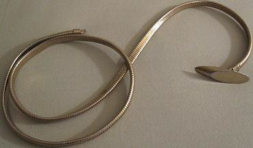 80s Stretchy Thin Gold Metal Belt. 28-34 inches. | by Vantastic Vintage
