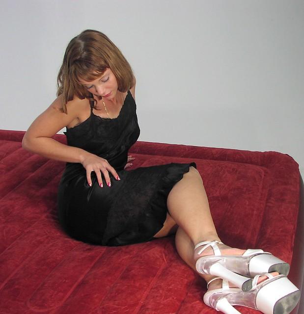 McKayla Black Lace & Flounce Satin Slip
