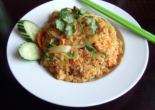Curry fried rice with fried tofu (Jhanjay Vegetarian Thai Cuisine, Ballard, Seattle) | by bochalla