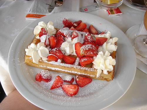 Brussels Waffle with strawberries and fresh whipped cream | by J. Rob McC