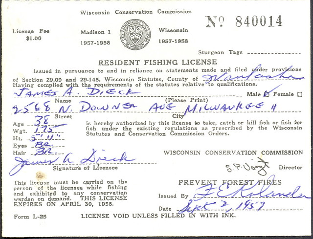 1957 wisconsin resident fishing license flickr photo for Michigan non resident fishing license