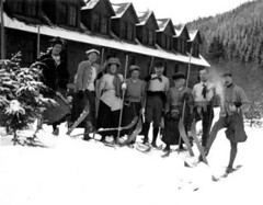 Skiers outside of Paradise Inn, Mount Rainier National Park | by UW Digital Collections