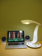 Apple Macbook Pro, Lacie Neil Poulton Speakers, IMG Lighting Desk Lamp