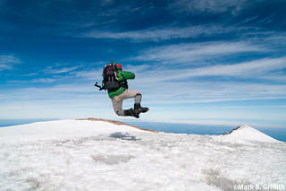 Heel Clicking on Top of Rainier | by Mark Griffith