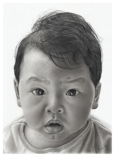 Pencil Drawing - Portrait of David Te | by Faith Te - Portraits and Pencil Drawings