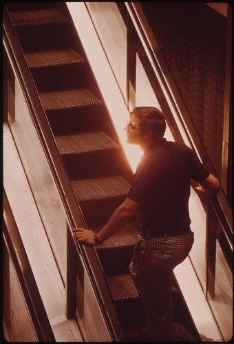 Taking the Escalator from Fountain Square to the Overhead Walkway 06/1973 | by The U.S. National Archives
