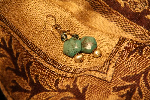 Turquoise & green-gold pearl earings | by ©EpicureanPiranha ~