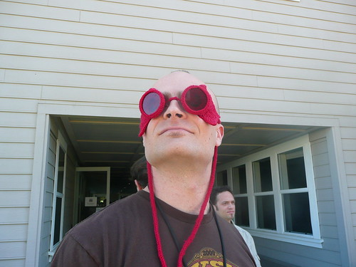 mc frontalot rocking my knitted super hero goggles | by bethgo