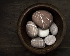 pebbles in a wooden bowl | by sue.h