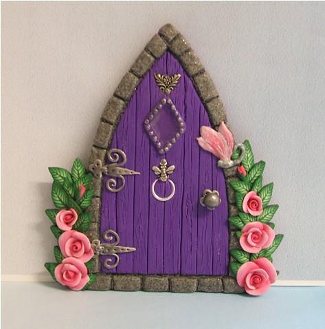 Purple gothic style fairy door with roses flickr photo for Purple fairy door