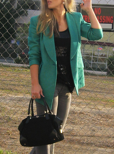 gray-jeans-wedges-teal-blazer | by ...love Maegan