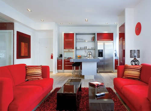 modern red living room interior design | by bogowonto2010