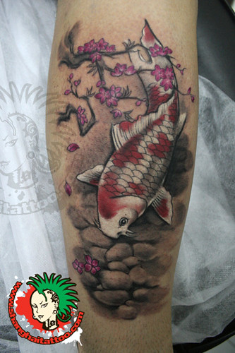 Traditional chinese watercolor style koi tattoo shanghai for Koi pond tattoo