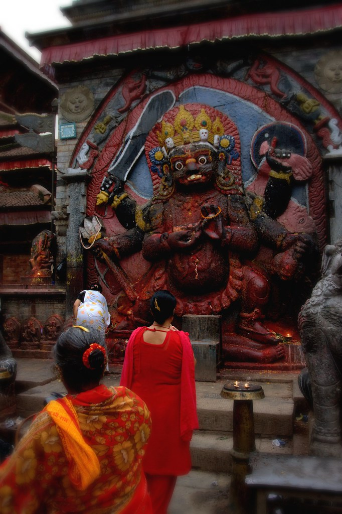 Ladies Giving Offerings In Kathmandu