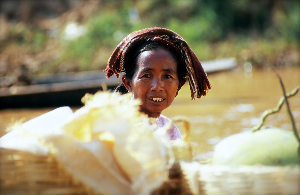 A Lady At A Floating Market, Inle, Burma