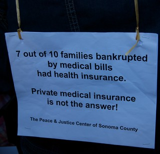 7 out of 10 families bankrupted by medical bills had health insurance - Big insurance: Sick of it health care reform rally | by Steve Rhodes