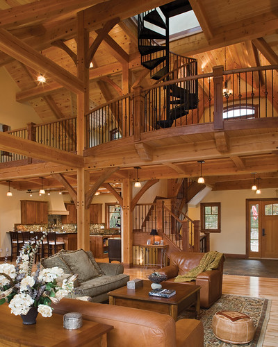 Timber treasure timber frame home great room loft flickr for Timber frame great room