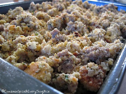 Cornbread & Sausage Stuffing Ready for the Oven | by CinnamonKitchn
