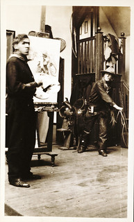 N. C. Wyeth in his studio in Delaware, at work, 1904 | by Archives of American Art, Smithsonian Institution