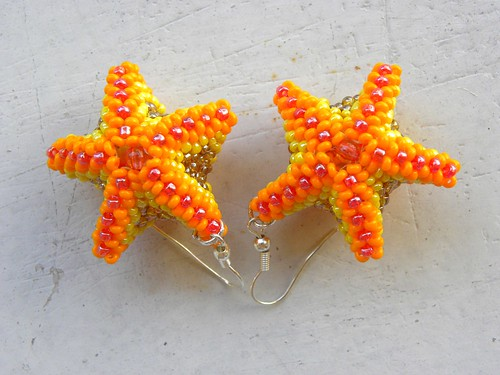 Orange starfish earrings | by PipaLatest