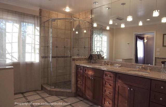 Master Bathroom Remodeling Corner Shower And Tub Pendant