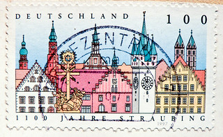 stamp germany 100 pf. straubing german city stadt oldtown Deutschland germany stamp timbre allemagne francobollo selo | by thx for sending stamps :) stampolina