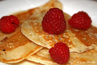 American Pancakes with Raspberries and Maple Syrup | by FreckledPast