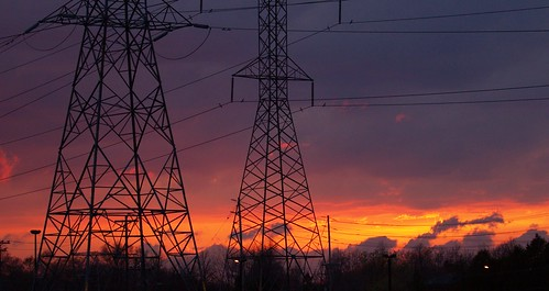Electricity pylons at sunset | by nayukim
