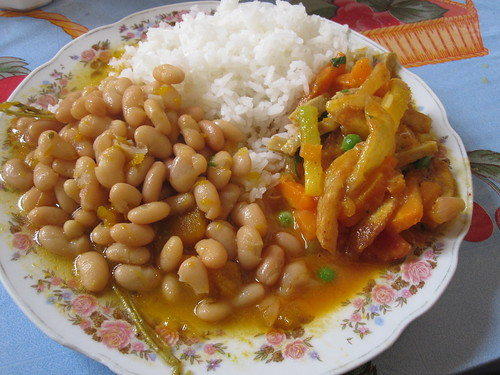 Beans, Veggies, Gluten and Rice | by veganbackpacker