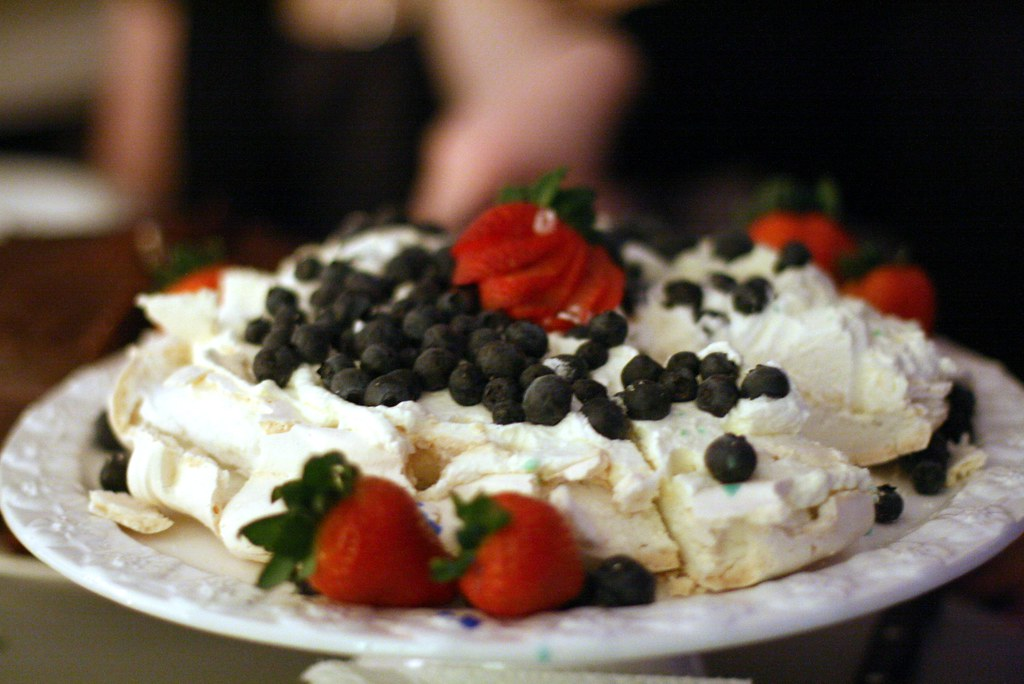 Birthday pavlova (covered in wax drippings!)