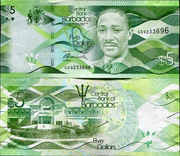 5 Dolárov Barbados 2013