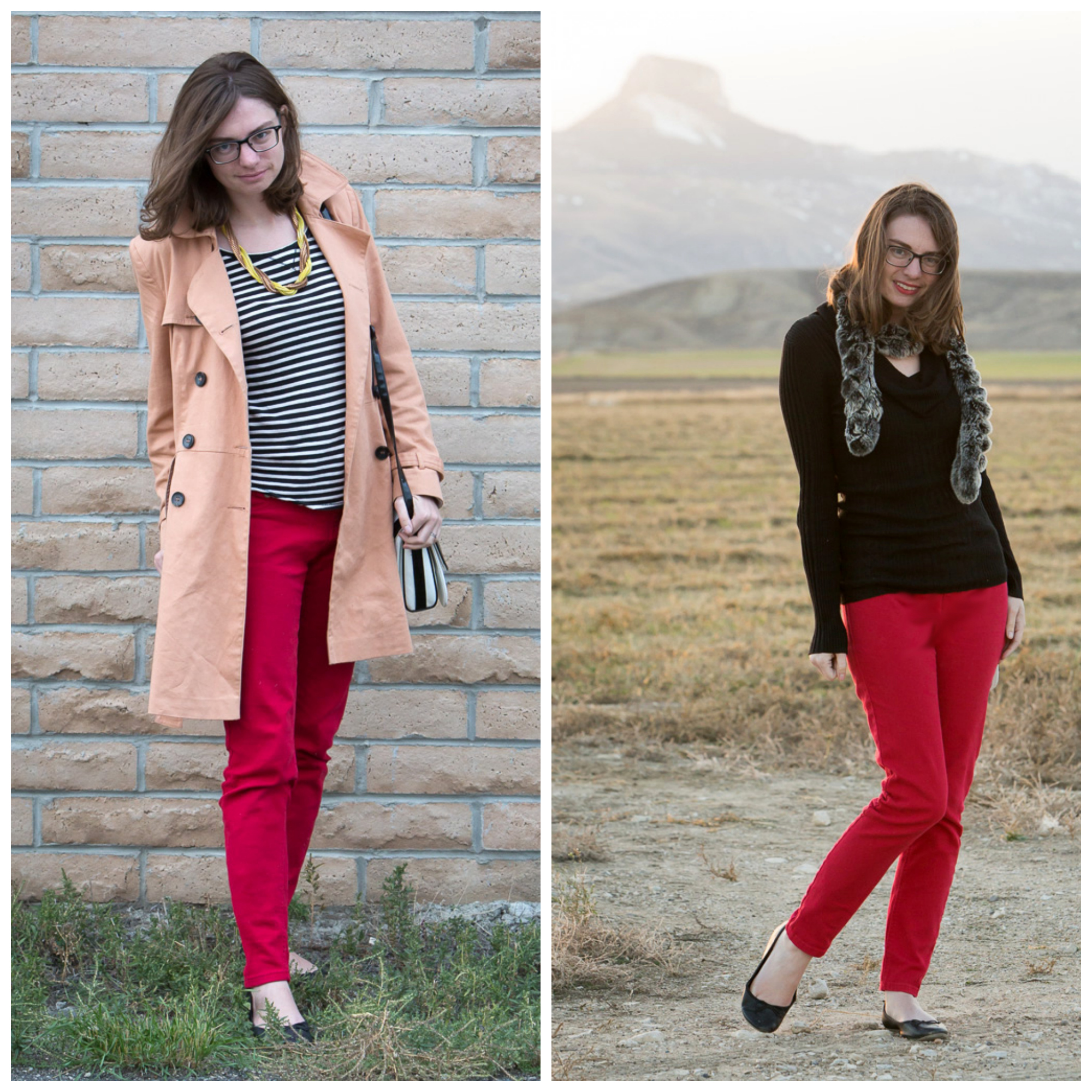 remix, red jeans, trench coat, striped shirt, black sweater, fur, never fully dressed, withoutastyle, wyoming,