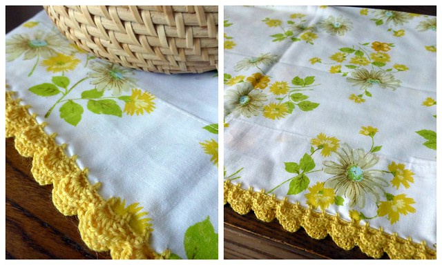 Crochet edged vintage pillowcase