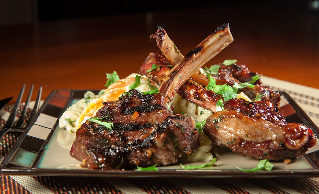 Asian Lollipop Lamb Chops with Creamy Fusilli Pasta