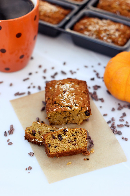 Grain-free Coconut Pumpkin Mini-Loaves with Cocoa Nibs - Gluten-free and Dairy-free
