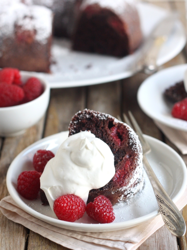 Chocolate Raspberry Bundt Cake from completelydelicious.com