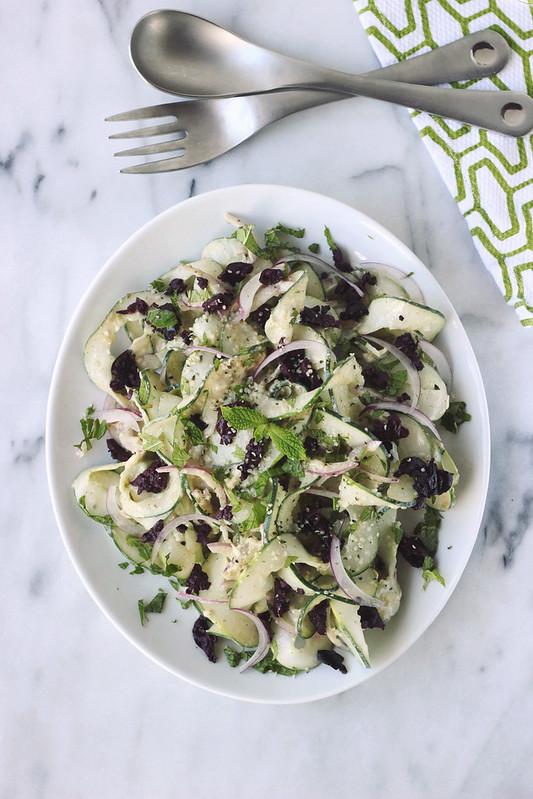 Cucumber Ribbon Salad with Garlic Tahini Dressing