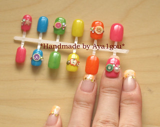Multi colored fake nails set | by aya1gou