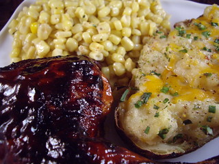 Oven Barbecued Chicken with Twice Baked Potato and Corn | by swampkitty