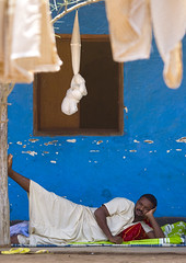 Man laying down at Hotel Omorate, Ethiopia | by Eric Lafforgue