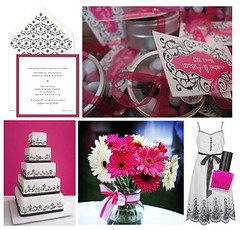 black, white, hot pink sweet 16 / party / shower inspiration board | by finestationery