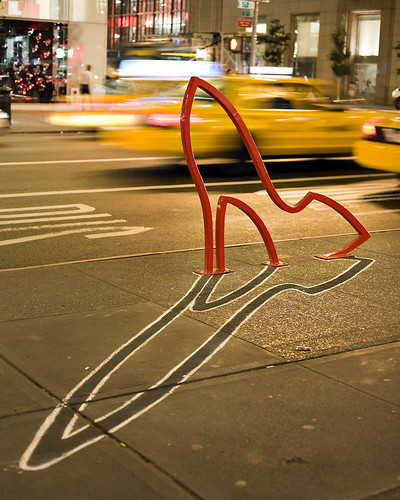 """The Ladies' Mile"" bike rack designed by David Byrne. New York, NY 2008. 