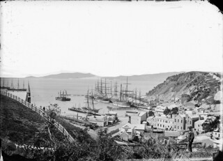 View of old Port Chalmers looking from the hill above the harbour, looking down towards the wharves, 1870s | by National Library NZ on The Commons