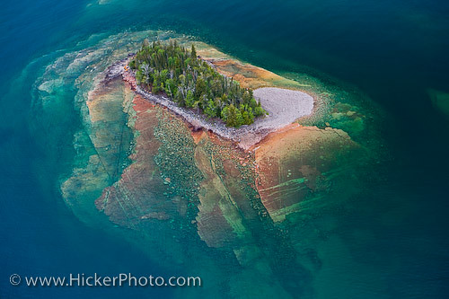 Landscape art - Aerial picture of a little island in lake Superior in Ontario Canada | by Rolf Hicker Photography